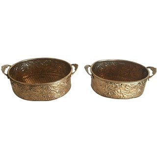 Hollywood Regency Brass Storage Baskets - A Pair