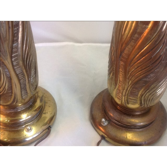 Vintage botanical brass table lamps a pair chairish for 0co om cca 9 source table