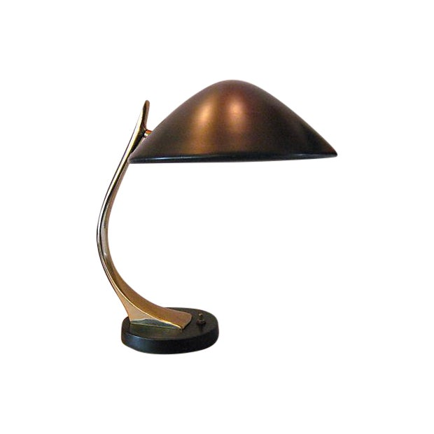 Image of Laurel Brass and Black Metal Desk Lamp