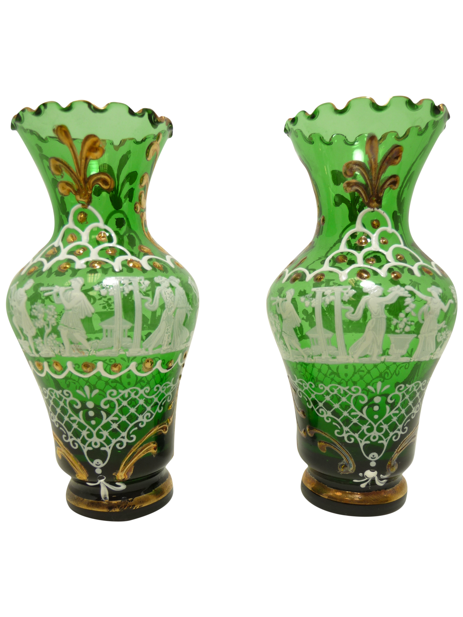 Emerald Art Glass vintage & used green vases | chairish