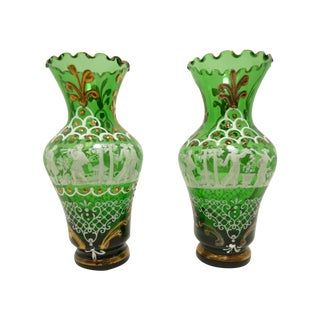 Italian Hand Painted Emerald Art Glass Cabinet Vases - a Pair