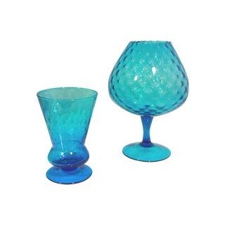 Italian Azure Blue Footed Vases - Pair