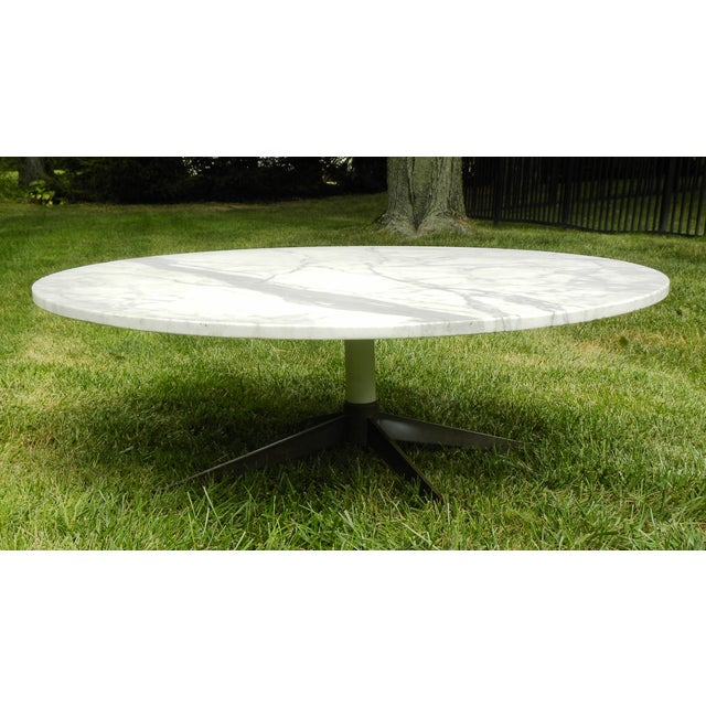 Mid Century Modern Marble Top Coffee Table: Mid-Century Modern White Marble Coffee Table