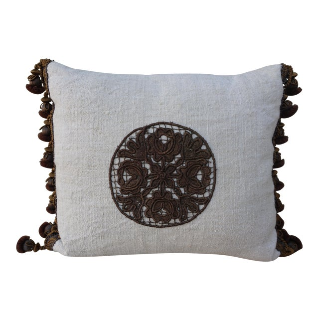 Flower Metallic Applique Linen Pillow - Image 1 of 7