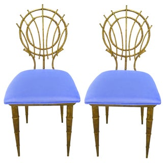 1960s Petite Gilt Bamboo-Style Chairs - A Pair