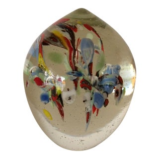 Vintage Hand Blown Floral Glass Paper Weight