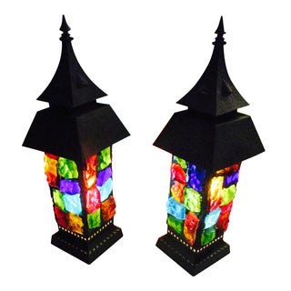 Moroccan Chunky Lucite Lamps - a Pair Lucite Lamp Set Boho Hollywood Regency