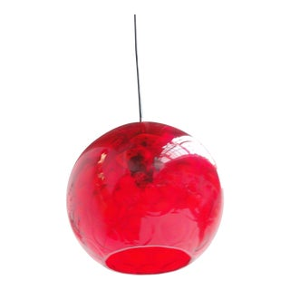 Red Facetted Crystal Glass & Brass Pendant by Carl Fagerlund for Orrefors