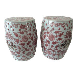Vintage Pink/Coral Floral Garden Seats - a Pair