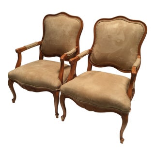 French Style Suede Armchairs - A Pair