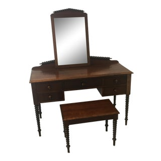 Antique Spindle Secretary with Spindle Bench and Mirror