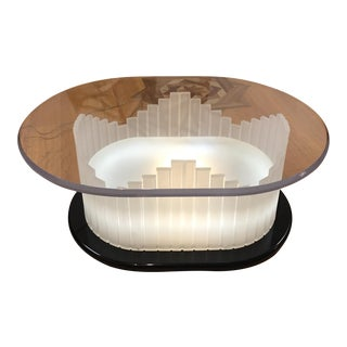 Vintage Art Deco Lucite Lighted Base Coffee Table