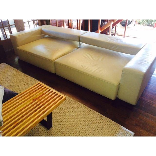 B&B Italia Andy Cream Leather Sofa - Image 2 of 4
