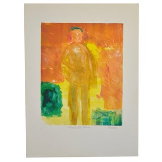 "Arthur Krakower ""Man on the Beach"" Original Monotype"
