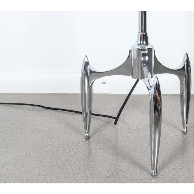 Image of Vintage 1950s French Chrome Plated Floor Lamp