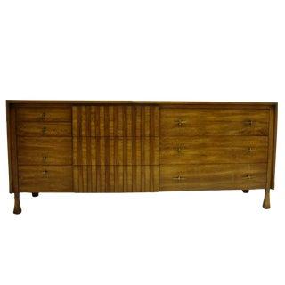 Rare John Widdicomb Ten-Drawer Dresser with Sculptural Legs and Brass Star Pull