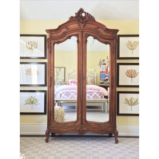 Image of French Armoire with Mirrored Doors