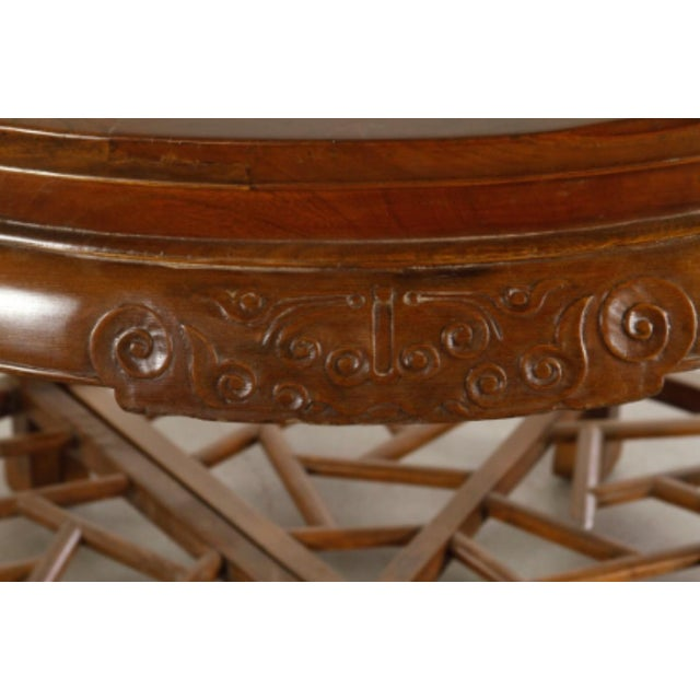 Pair 19th Century Chinese Carved Demilune Tables - Image 3 of 6