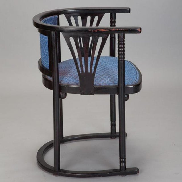 Pair of Josef Hoffmann Armchairs with Blue Upholstery - Image 4 of 5