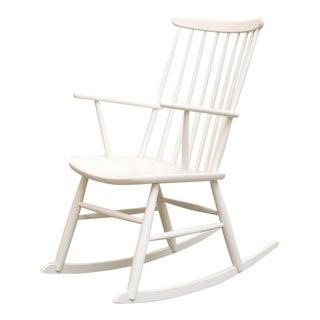 Tapiovaara-Inspired White Rocking Chair