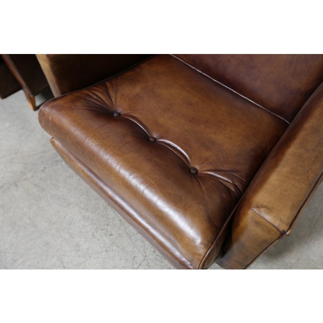 Image of Modern Distressed Leather Lounge Chairs - A Pair