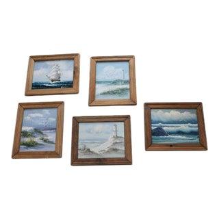 Framed Ocean Paintings - Set of 5