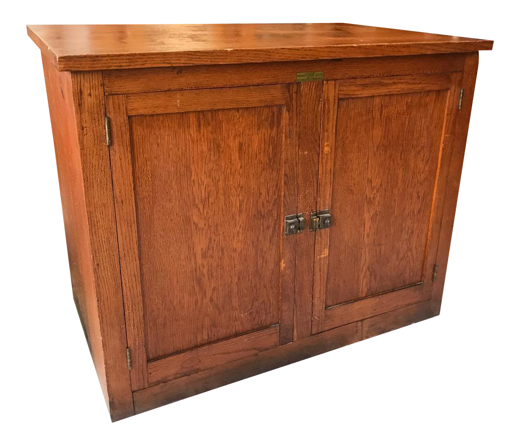 Antique National Youth Administration Oak Farmhouse Country Cabinet