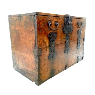 Amazing 19th Century Antique Korean Bandaji Chest With Buddist Lucky Symbols