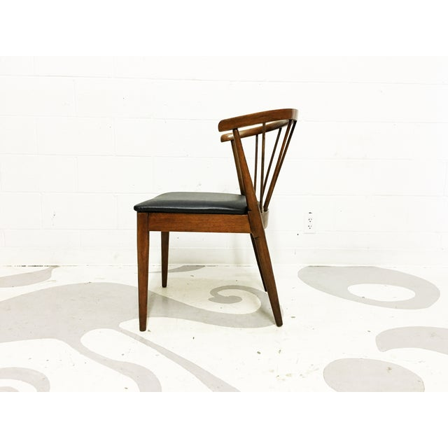 Mid Century Modern Chair Spindle Back Walnut Chair - Image 4 of 6