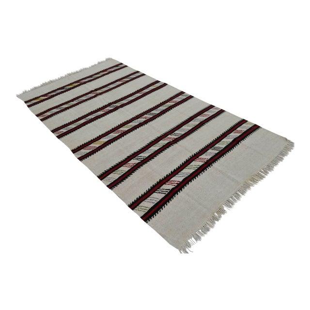 Vintage Natural Stripe Turkish Cotton Kilim Rug - 4′3″ × 8′ - Image 1 of 9