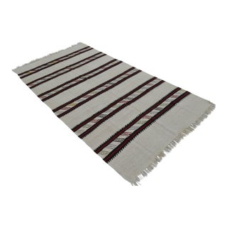 Vintage Natural Stripe Turkish Cotton Kilim Rug - 4′3″ × 8′