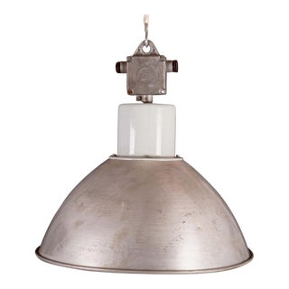 Large Czech Industrial Hanging Lamp in Gray, 1960s