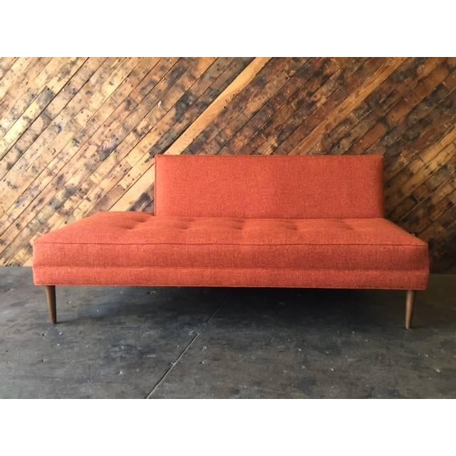 Mid century style custom day bed tweed sofa chairish for Mid century style bed