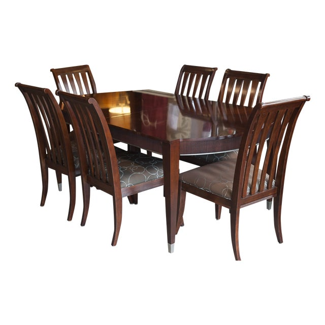 Ethan Allen Dark Mahogany Stained Dining Set - Image 1 of 8