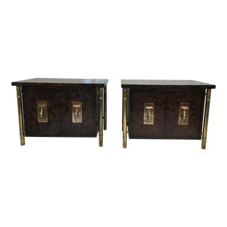 Mastercraft Burl & Brass Nightstands - A Pair