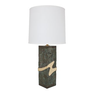 Brutalist Brass & Bronze Metal Abstract Table Lamp