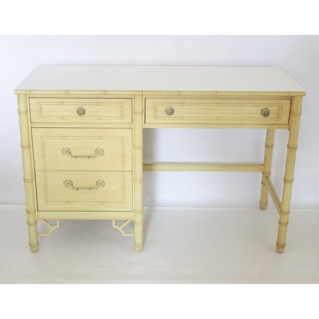 Thomasville Faux Bamboo Desk With Fretwork - Image 2 of 11