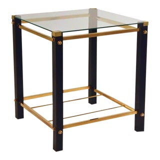 Pair of Ebonized Wood and Brass Side Tables, Attributed to Harvey Probber