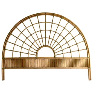 Vintage Rattan & Leather Queen Headboard