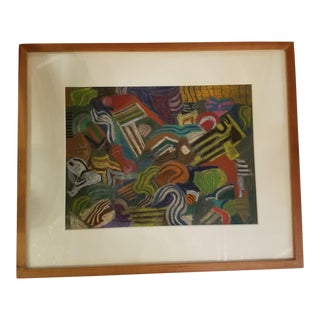 1935 Colorful Abstract Pastel Painting