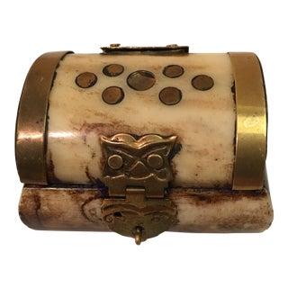 Vintage Bone and Brass Trinket Box