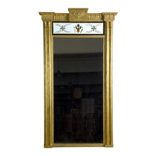Gilt Pier Mirror with Reverse Painting & American Eagle