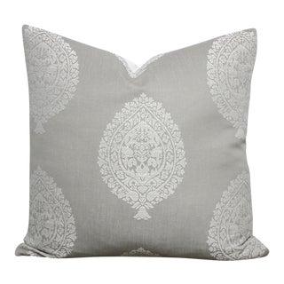 Medallion Damask Gray & White Pillow Cover