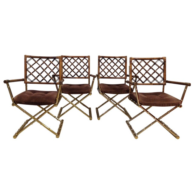 Faux Bamboo Brass & Rattan Chairs - Set of 4 - Image 1 of 6