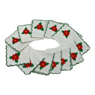 Poinsettia Christmas Napkins - Set of 12
