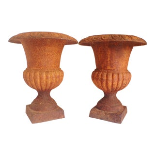 French Antique Cast Iron Urns - A Pair