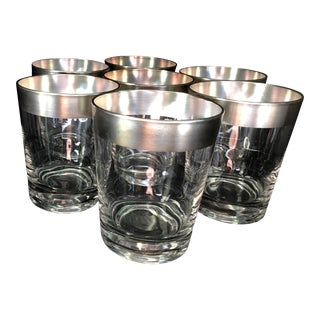 Dorothy Thorpe Double Old Fashioned Silver Rim Cocktail Glasses - Set of 7