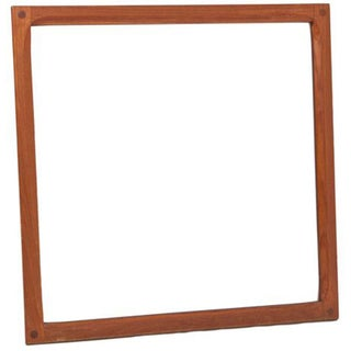 Square Teak Danish Modern Mirrors - Pair