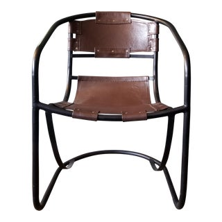 Tobacco Leather Round Lounger Chair