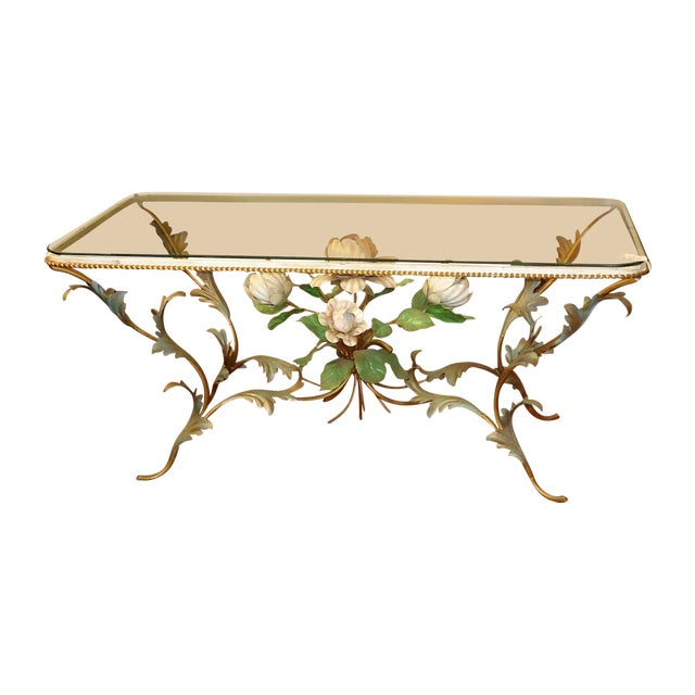 Iron & Glass Italian Tole Painted Coffee Table - Image 1 of 5